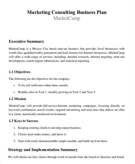 Consulting Marketing Plan Template 29 Free Business Plan Templates Free Premium Templates