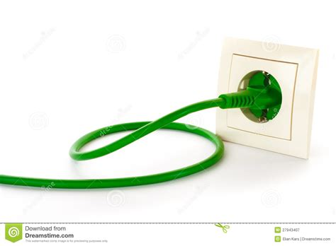 how to date a l by the plug green power plug into power outlet stock image image