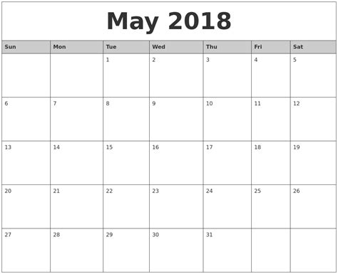 printable calendar 2018 monthly may calendars