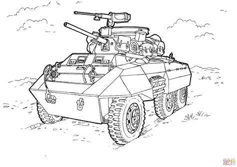 ww2 army coloring pages m8 greyhound licht gepantserde auto kleurplaat gratis