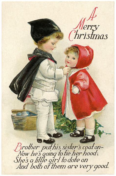 vintage christmas children postcard  graphics fairy