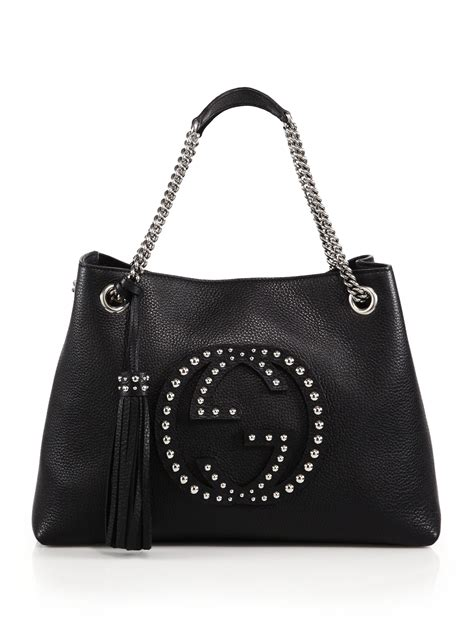 lyst gucci soho medium studded leather chain shoulder bag in black