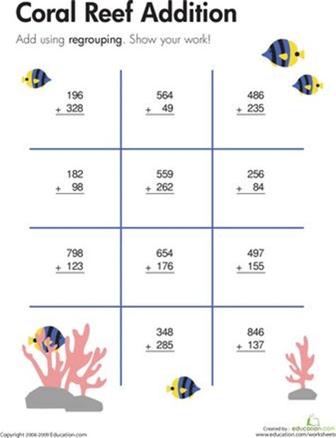 Coral Reef Worksheets For by Worksheets Coral Reef Three Digit Addition With Regrouping