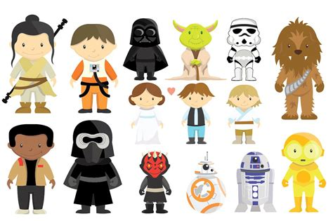 clipart wars wars characters clipart set illustrations