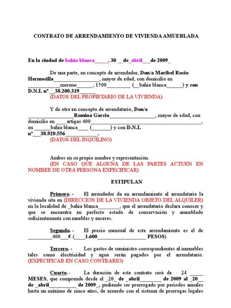 contrato de renta de casa en espanol gratis contrato de alquiler de vivienda habitual en formato word