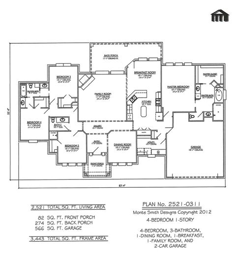 Four Bedroom House Plans One Story by 1 Story 4 Bedroom House Plans Joy Studio Design Gallery