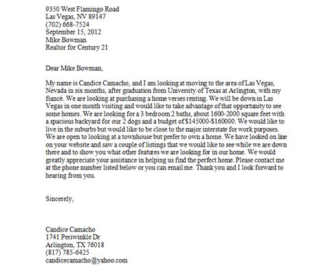 Inquiry Letter For House Real Estate Letter Of Inquiry Candice Camacho S Portfolio