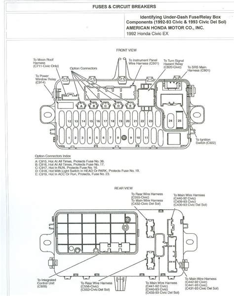 93 honda civic fuse box diagram 1993 accord ex 4dr dash fuse diagram honda tech