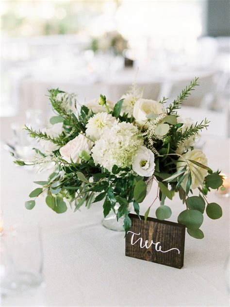 trending  chic white  green wedding centerpiece ideas