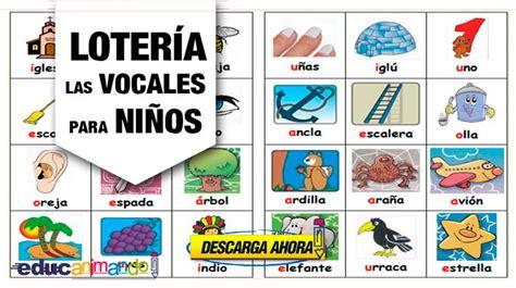loteria de ninos para imprimir loter 237 a de las vocales para ni 241 os material para maestros