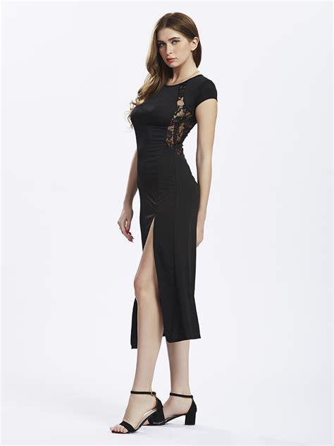 black split longdress w8180usi d original split dress black lace back stunning