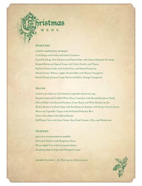 victorian christmas menu christmas menus
