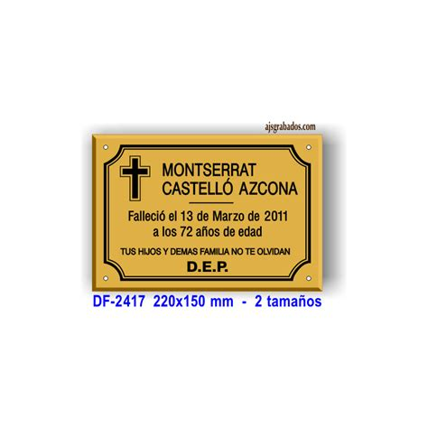 modelos de cruz para difuntos placa para difuntos en metacrilato metalizado oro 7 lineas