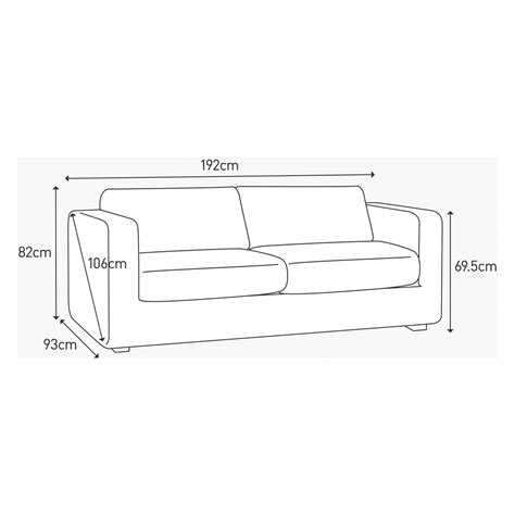 average size of couch porto charcoal fabric 3 seater sofa buy now at habitat uk