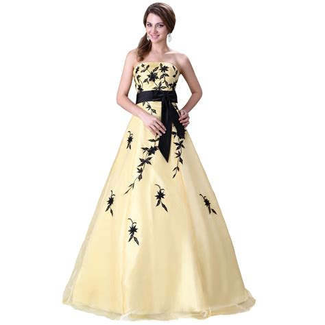 fashion design for dress aliexpress com buy hot sale strapless appliques yellow