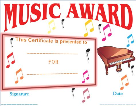 Music Certificate Templates Best Templates For Musicians