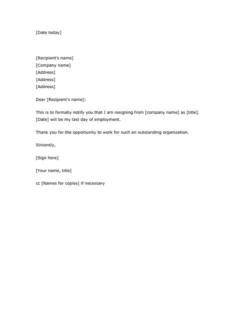 resignation letter format formal notification of leave
