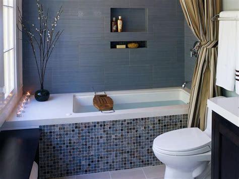 blue tub bathroom modern mosaic bath glass mosais on tub face with a marble