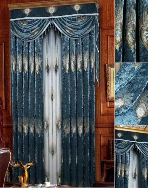 elegant curtains and drapes thick dark blue peacock feathers elegant curtains