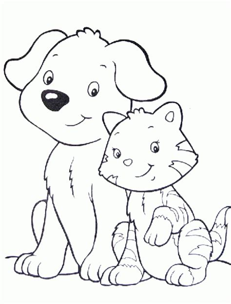 printable coloring pages kittens and puppies dog and cat coloring pages coloringsuite com