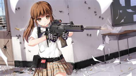 wallpaper anime girl with gun full hd wallpaper girls with guns shot schoolgirl brown