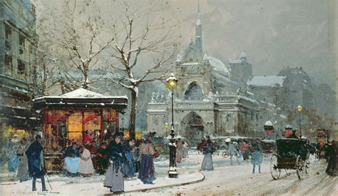 French Pillows Home Decor snow scene in paris painting by eugene galien laloue