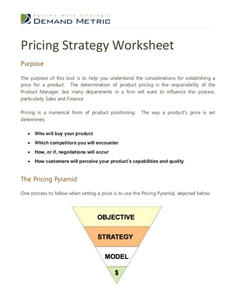 pricing template pricing strategy template