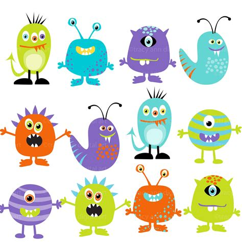 monsters free clipart digital monsters set of 12 set 2