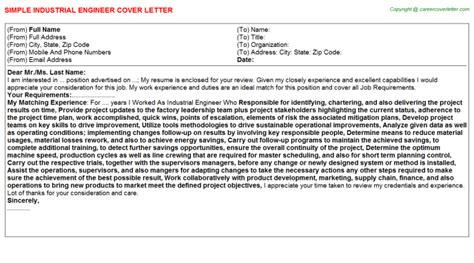 industrial engineer cover letter