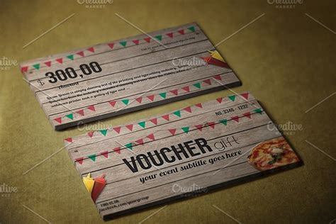 Fast Food E Gift Cards - fast food gift voucher card templates creative market
