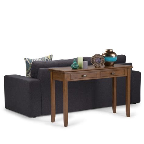 svn console simpli home artisan medium saddle brown storage console