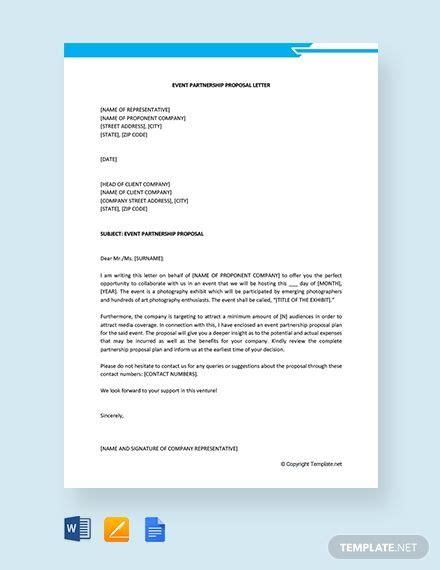 event partnership proposal letter proposal letter