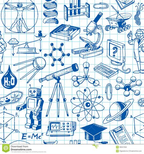 pattern background science science and education seamless pattern stock vector