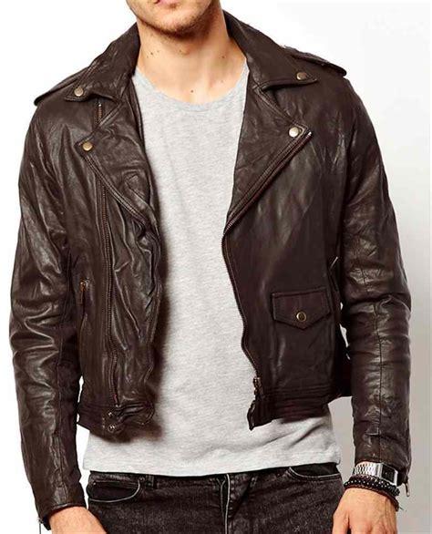 short jackets for men men dark brown leather jacket real leather biker jacket