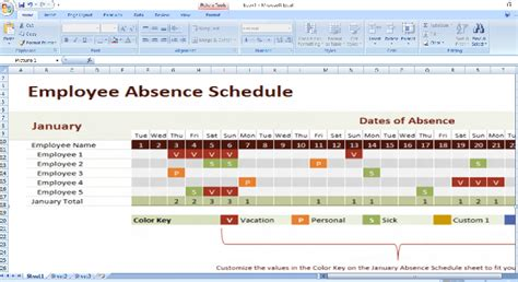 Employee Relations Tracking Spreadsheet by Employee Leave Record Chart Calendar Template 2016