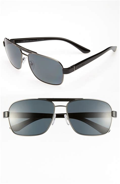 Retro Polarized Sunglasses prada 60mm polarized retro sunglasses in black for lyst