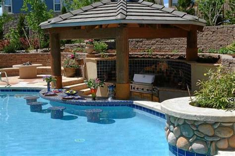 Backyard Pool Design Ideas Outdoor Kitchens With Swim Up Bars Pool With Swim Up Bar Backyard Swim