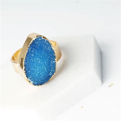 agate druzy druzy agate adjustable ring by grace valour