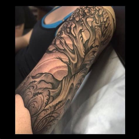 half sleeve tree tattoos black and grey tree half sleeve by jade tattoos