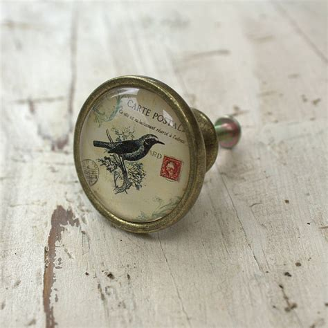 Bird Drawer Knobs by Vintage Postcard Bird Drawer Knob By Ella