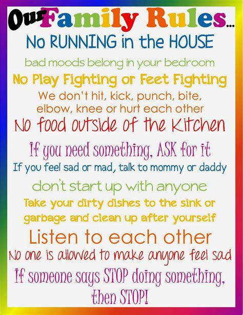 printable house rules template family house rules template don t lose sight of the