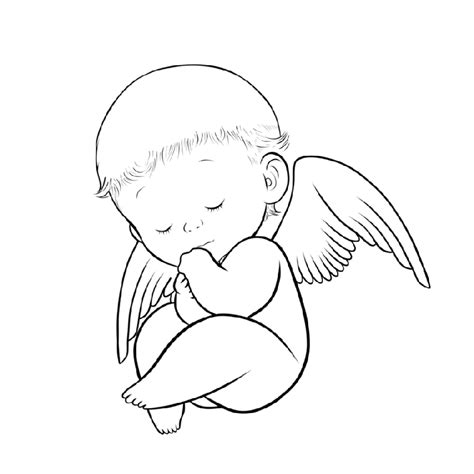 colorless sleeping baby angel tattoo design by zaketsu