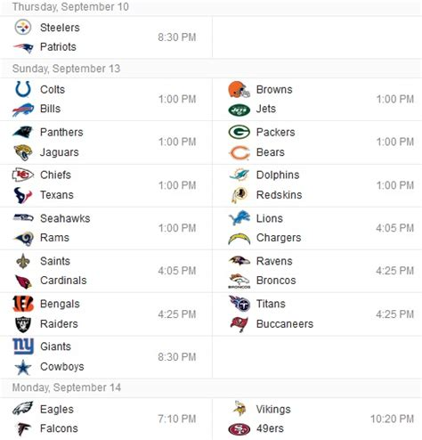 printable nfl schedule week 5 nfl week 5 schedule printable