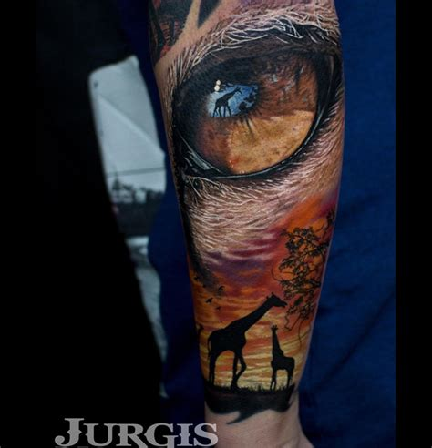lion eyes tattoo africa sleeve with zebra leopard antelope best