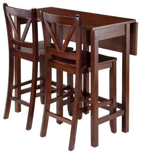 Drop Leaf Bistro Table Winsome Wood Lynnwood 3 Pc Drop Leaf Table With 2 Counter V Back Stools Transitional Indoor