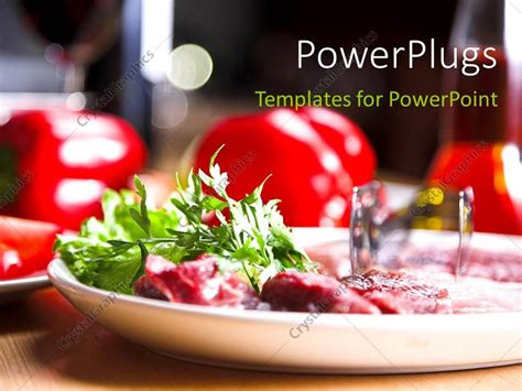 Powerpoint Template Fresh And Healthy Food In Plate Over Restaurant Table 12729 Food Powerpoint Templates