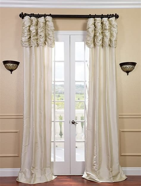 ruched drapes ruched pearl white thai silk curtain traditional