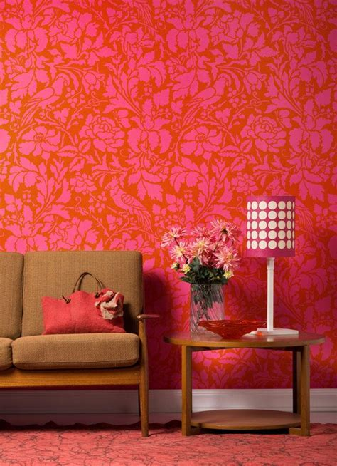large colorful wall stencil french floral damask patterns elegant tropical home decor idea
