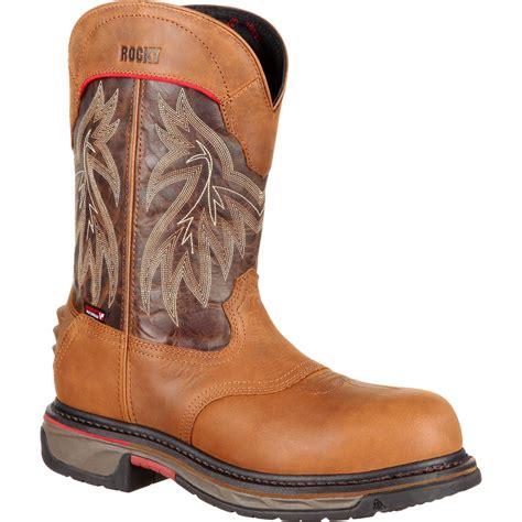 comfortable western boots rocky iron skull men s comfortable composite toe brown