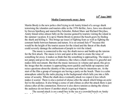 Media Studies Essay by Media Coursework Essay Jaws A Level Media Studies Marked By Teachers
